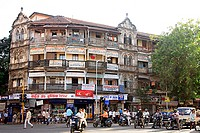 Old Habib mass urban housing building , Voice of India restaurant , Jagannath Shankarsheth road , Charni Road , Bombay Mumbai , Maharashtra , India