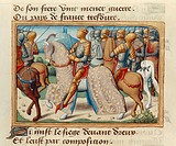 Joan of Arc and her companions during the siege of Dreux, miniature from the Vigiles de Charles VII, 1484, by Martial de Paris (known as Auvergne)(142...