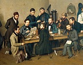Political meeting in Trier, Germany, (birthplace of Karl Marx), 1848, painted by Johann Velten (1807-1883). Germany, 19th century.  Treviri, Stadtisch...
