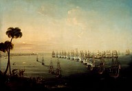 Battle of the Nile, August 1, 1798, painting by Nicholas Pocock (1741-1821), 1808, oil on canvas, 71.1x101.2 cm. Napoleonic Wars, Egypt, 18th century....