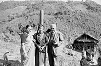 Mr and Mrs. TS. Satyan with Hill Miri tribal lady , Arunachal Pradesh , India NO MR