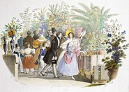 Visitors at the floral exhibition in Vienna, 1832. Austria, 19th century.