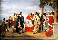 Cardinal Richelieu presenting Poussin to Louis XIII, 1640, detail from a painting of 1832 by Jean Alaux (1786-1864). France, 17th century.  Paris, Mus...