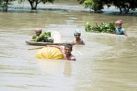 Kosi river flood in year 2008 which mostly made suffered below poverty line people in Purniya district , Bihar , India NO MR