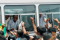 26 July 2005 flood affected residents rush to a mobile medical van to collect medicines by fears of epidemic ; Bombay Mumbai ; Maharashtra ; India