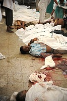 Dead people from CST Station , after terrorist attack by Deccan Mujahideen on 26th November 2008 in Bombay Mumbai , Maharashtra , India