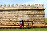 Outer wall of Ramachandra temple embellished with carvings , Hampi , Karnataka , India