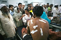Crowd turned up at the local hospital to look out for bomb blast victims being treated at the nearby hospital of Malegaon ; Maharashtra ; India 29th S...