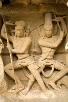 Arjuna and Siva Pasupatham statue , Kailasanatha temple in sandstones built by Pallava king Narasimhavarman &amp; son Mahendra eight century in Kanchipura...