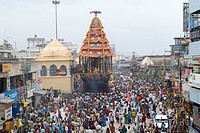 Chariot procession during Karthigai Deepam festival in Arunachaleshwara temple dedicated to lord Shiva Chola Period 9th_13th century in Thiruvannamala...