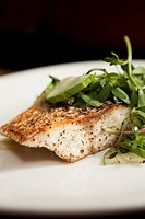 Striped Bass Fillet Topped with Cucumber and Purslane