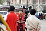 Barkha Dutt reporter of NDTV outside Taj Mahal Hotel after terrorist attack in Bombay Mumbai ; Maharashtra ; India 26-November-2008 NO MR