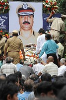Homage to Chief of Anti Terrorism Squad Hemant Karkare after killed by terrorist attack in Bombay Mumbai ; Maharashtra ; India 26-November-2008 NO MR