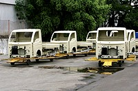 Bodies of Tata motors new range of mini matador Tata-Ace which is commercial vehicle in  workshop at Tata motors plant ; Pimpri near Pune ; Maharashtr...