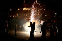 Diwali Deepawali Celebrations by bursting fire crackers at Marine Lines in Bombay Mumbai , Maharashtra , India