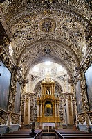 Interior of Capilla Del Rosario at Santo Domingo de Guzmán Church in City of Puebla in Mexico