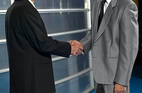 View of two businessmen shaking hands
