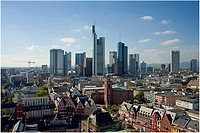 Elevated view of Frankfurt with skyscrapers