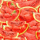 Seamless pattern of red watermelons slices