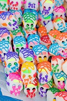 Tlacolula, Oaxaca, Mexico, North America  Sugar Candy Skulls for Observance of The Day of the Dead All Souls' Day