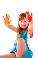 Playful beauty girl with many_coloured hands