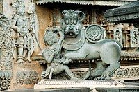 Lion statue on gate of chennakesava temple , Belur , Hassan , Karnataka , India