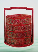 fine arts, Japan, lacquer work, picnic basket, wood with red lacquer, 18th / 19th century, private collection,