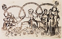 fine arts, Middle Ages, mediaeval, copper engraving, The power of women, by the Master of women`s power active 1440 _ 1468, Lower Germany, circa 1460,...