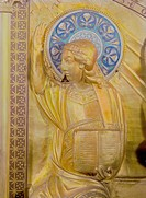 fine art, religious art, altar from Koblenz, detail, middle part, guilded copper, Liege, 12th century, Musee Cluny, Paris,