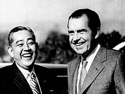 President Richard Nixon and Japanese Prime Minister Eisako Sate share a laugh on the first of two days of private talks. San Clemente, California. Jan...