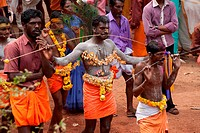 Devotees piercing body with skewers in kavadiatam thaipooyam thaippooyam festival ; Kottaya Kunn ; Nedumgolam ; Quilon Kollam ; Kerala ; India 2010