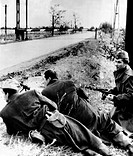 The 1956 Hungarian Uprising. Anti_Soviet rebels, armed with submachine guns, near the Austrian border. They went into Austria to join a new rebel resi...