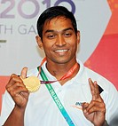 K ravi kumar gold  medal winner in 69 kg weightlifting competition in nineteen commonwealth games ; New Delhi ; India NOMR