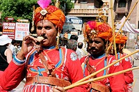 Gher folk dancers at marwar festivals , Jodhpur , Rajasthan , India MR786