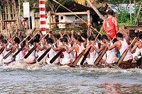Snake boat race on punnamada lake , Alleppey , Alappuzha , Kerala , India