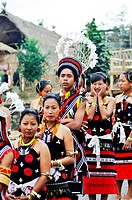 Naga tribes at hornbill festival , Kohima , Kisama village , Nagaland , North East , India NOMR
