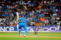 Indian batsman Sachin Tendulkar during the 2011 ICC World Cup Final between India and Sri Lanka at Wankhede Stadium on April 2 2011 in Mumbai India