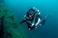 Diver & Gammarus Eulimnogammarus verrucosus, Lake Baikal, Siberia, the Russian Federation, Eurasia