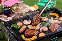 Meat and Vegetable Grilled on Barbecue Grill