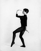 leisure / sports, gymnastics, woman, doing a exercise, full length, 1960s, 60s, gym, sport, exercise, physical education, fashion, leotard, historic, ...