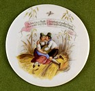 fine arts, painting, painted beer jug lid, transfer lithography, couple on a sheaf of grain, Germany, 2nd half 19th century,