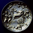fine arts, ancient world, Sassanids, sculpture, bowl, triumpf of Dionysus, silver, 3rd century, British Museum, London,