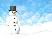 snow man with a blue sky at the background
