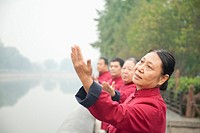 Chinese people practicing taiji in park