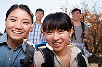 Chinese women hiking together