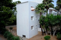 White house in Santa Eulalia town  Ibiza island, Spain