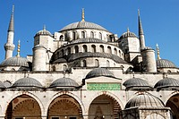 Sultan Ahmet I Mosque or Blue Mosque, built by the architect Davut Aga between 1603 and 1616  Cascading domes, southern view  UNESCO World Heritage