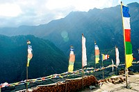 Holy flag in upper pisang , Nepal , Asia