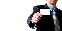 man holding business card in hand
