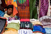 Oaxaca, Mexico, North America  Clothing Vendor, Outdoor Market, Plazuela Labastida, near the Church of Santo Domingo